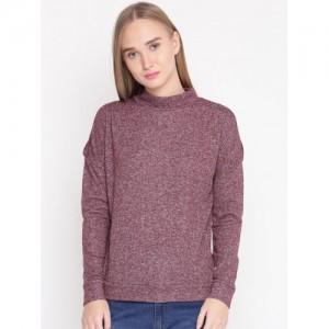 United Colors of Benetton Women Burgundy Solid Cold Shoulder Sweatshirt