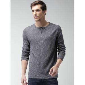 Tommy Hilfiger Men Blue Self Design Henley Neck T-shirt