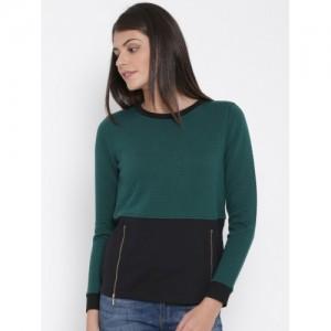 United Colors of Benetton Green & Black Colourblocked Textured Sweatshirt