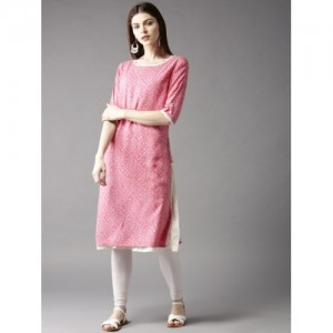 HERE&NOW Women Pink & Off-White Printed Layered A-Line Kurta