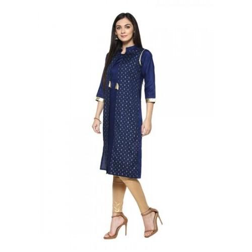Ziyaa Women's Blue Foil Print Straight Party Wear Polysilk Kurti