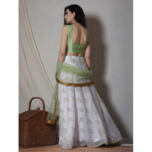 TrueBrowns Mint & White Pure Chanderi Cotton Floral Print Lehenga