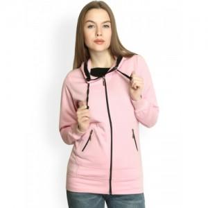Belle Fille Women Pink Hooded Sweatshirt