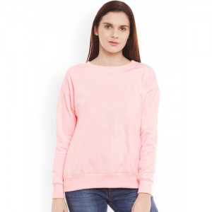 Belle Fille Pink Fleece Solid Sweatshirt