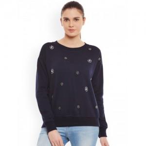 Belle Fille Navy Embellished Sweatshirt