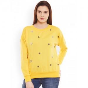 Belle Fille Yellow Embellished Sweatshirt