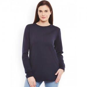 Belle Fille Navy Blue Fleece Solid Sweatshirt