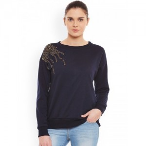 Belle Fille Navy Sweatshirt with Embellished Detail
