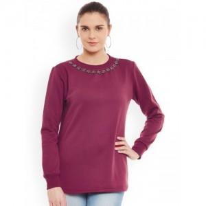 Belle Fille Magenta Sweatshirt with Embellished Detail