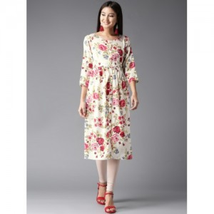HERE&NOW Women White & Pink Printed A-Line Kurta