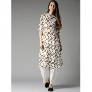 HERE&NOW Women White & Olive Brown Printed Pathani Kurta
