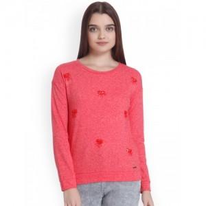 Vero Moda Women Coral Red Embellished Sweatshirt