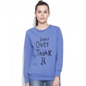 Vero Moda Blue Cotton Sequinned Sweatshirt