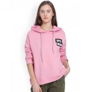 Vero Moda Women Pink Solid Hooded Sweatshirt