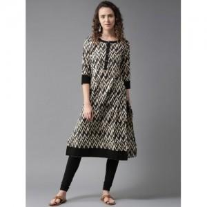 HERE&NOW Women Beige & Grey Printed Straight Kurta