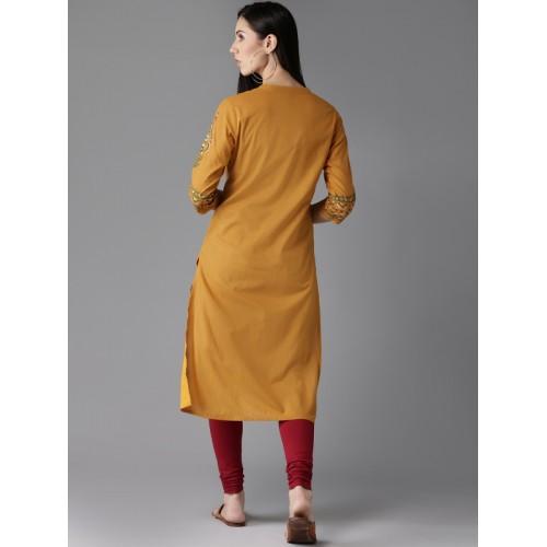 HERE&NOW Women Mustard Yellow Hand Block Print Straight Kurta