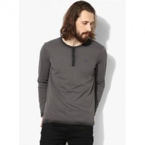 Spykar Gray Solid Slim Fit Henley T-Shirt