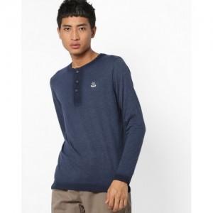 Spykar Blue Solid Slim Fit Henley T-Shirt