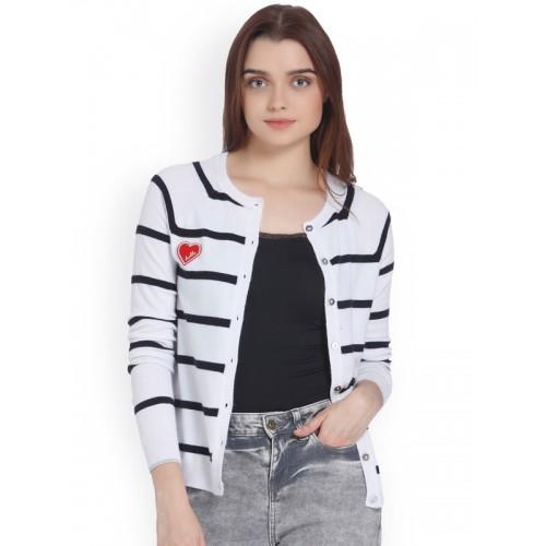 Vero Moda Women White & Navy Blue Striped Cardigan Sweater