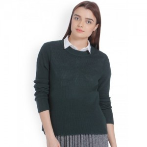 Vero Moda Women Green Self Design Pullover