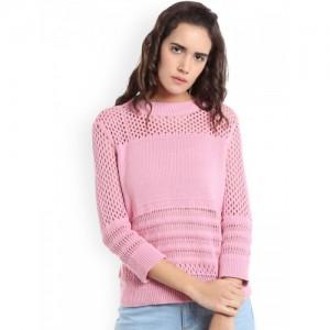 Vero Moda Women Pink Self Design Sweater Vest