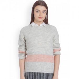 Vero Moda Women Grey Melange Self-Design Pullover Sweater