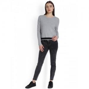 Vero Moda Women Grey Melange Solid Sweater