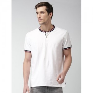 Tommy Hilfiger Men White Solid Henley Neck T-shirt
