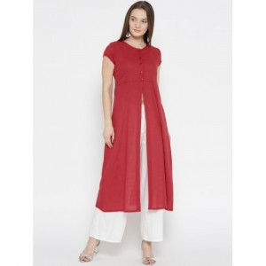 HERE&NOW Women Red Solid A-Line High Slit Kurta