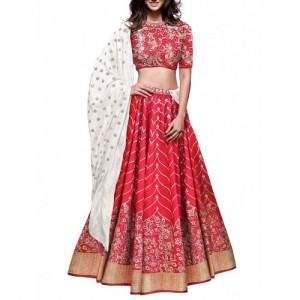 rozy fashion red raw silk flared lehenga