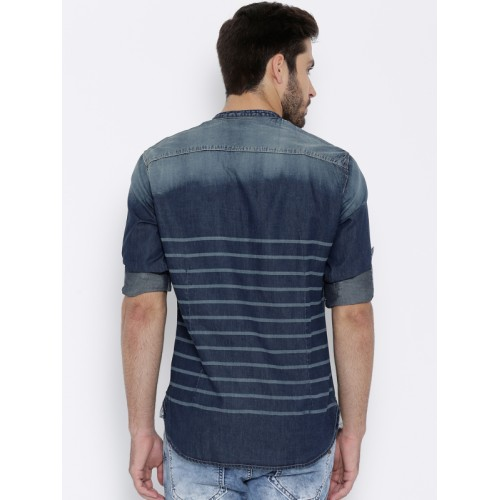 John Players Navy Cotton Striped Trim Fit Denim Shirt