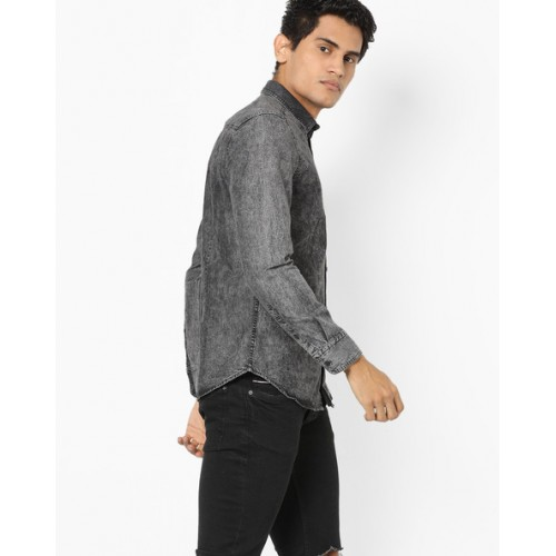 Ed Hardy Gray Cotton shirt with Washed Effect