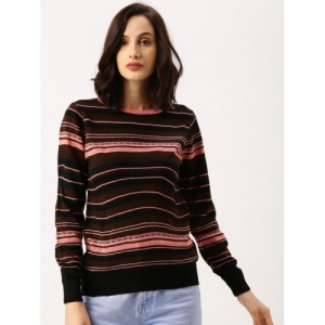 all about you from Deepika Padukone Women Black & Pink Striped Sweater
