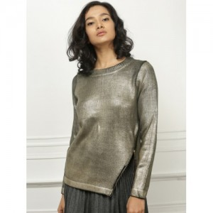 all about you from Deepika Padukone Women Gold-Toned Solid sweater