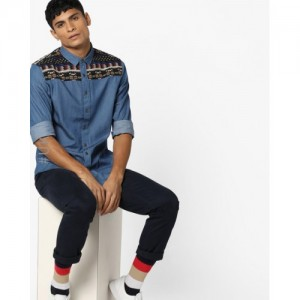 Brave Soul Blue Denim Shirt with Jacquard Panel