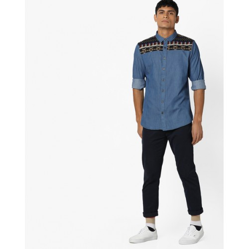 Brave Soul Blue Denim Shirt with Jacquard Panel