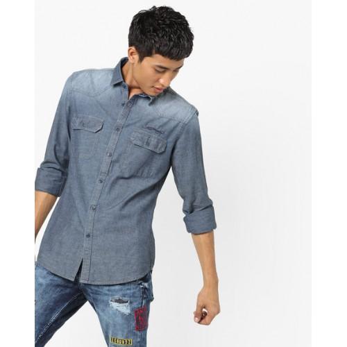 Ed Hardy Blue Washed Denim Shirt with Flap Pockets