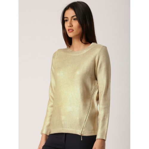 all about you from Deepika Padukone Women Gold-Toned Self-Design Pullover Sweater