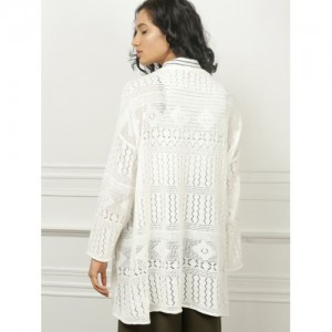 all about you from Deepika Padukone Women White Self Design Front-Open Sweater
