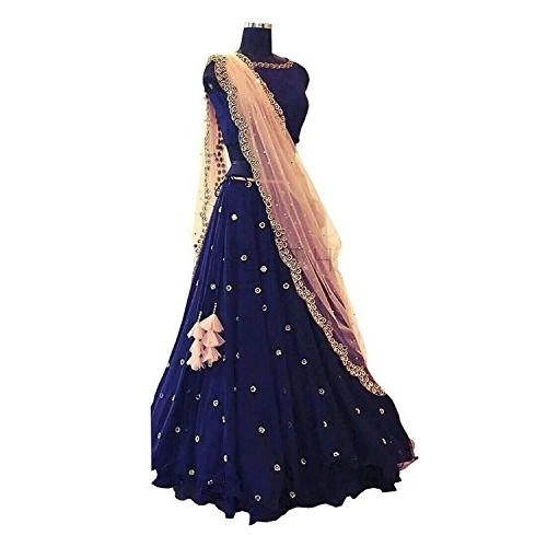 Gloxi Fashion Navy Blue Georgette & Velvet Embroidered Lehenga