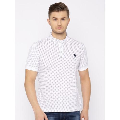 Buy U S Polo Assn Men White Printed Polo Collar T Shirt Online