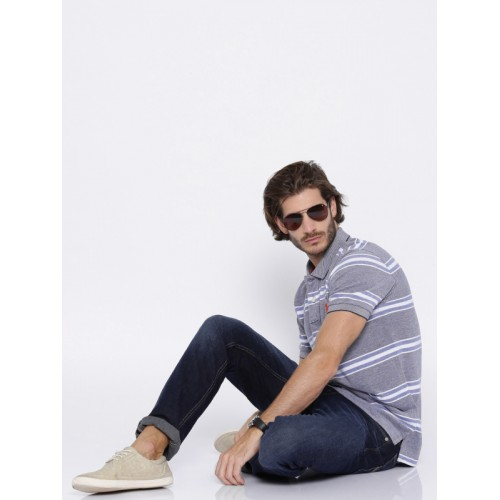 U.S. Polo Assn. Blue & White Striped Polo T-shirt