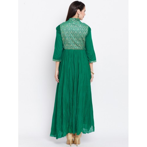 Biba Green Jacket Style Anarkali Kurta