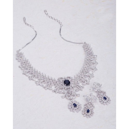 Voylla Exquisite Silver Plated Necklace Set