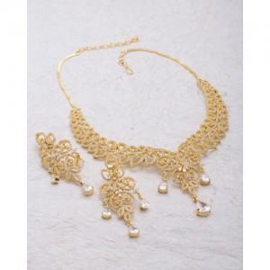 Voylla Cz Studded Dainty Necklace Set For Women