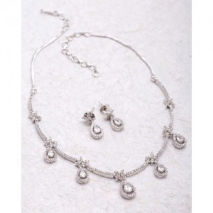 Voylla Silver Plated Pear Dangled Necklace Set