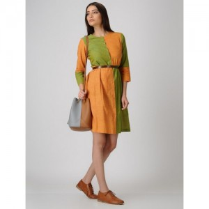 ANAN Yellow-Green Front-open Cotton Dress with Pleats