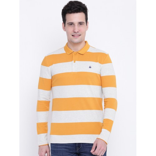 52ae4257bee ... United Colors of Benetton Men Mustard Yellow Striped Polo Collar T-shirt  ...