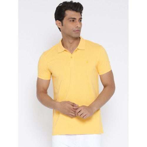 704e293c4f7 Buy United Colors of Benetton Men Yellow Solid Polo Collar T-shirt ...