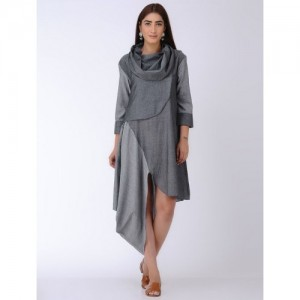 MANAN Grey Asymmetrical Chambray Cotton Dress with Cowl Neck